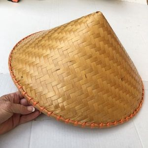 Wicker pointed Asian cone hat adult
